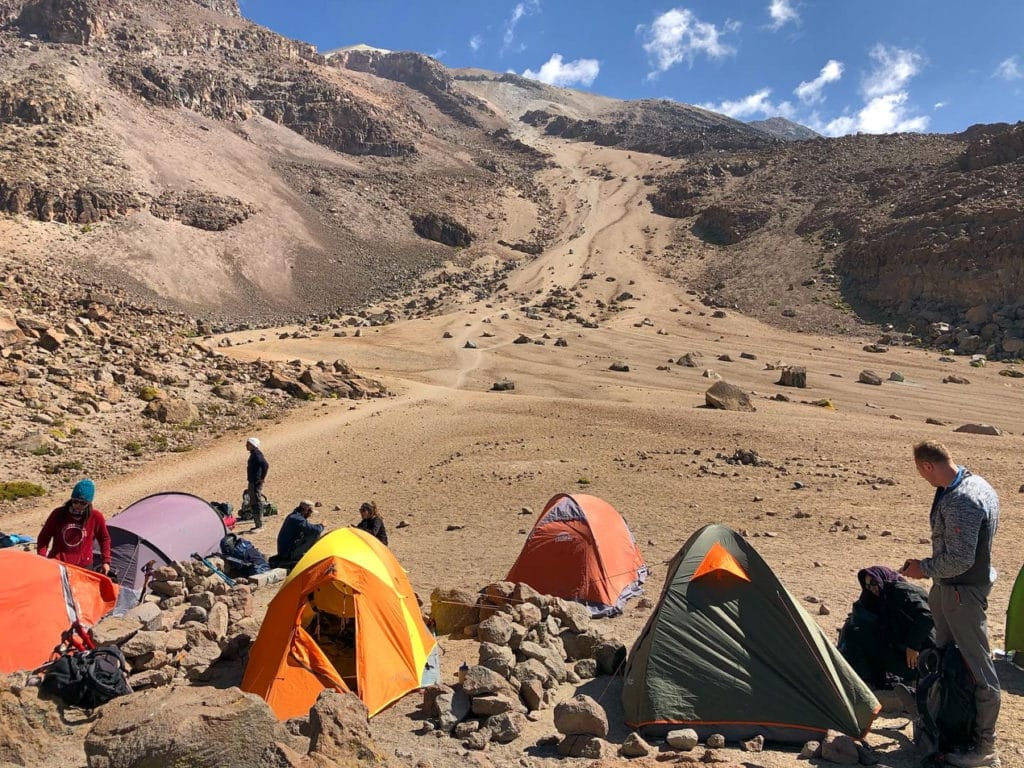 Campsite during the climb to Chachani in southern Peru.