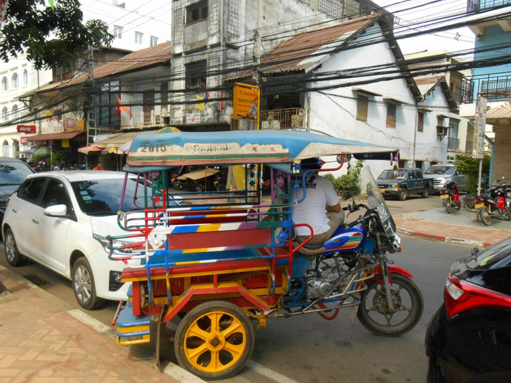 Colorful Tuk-Tuk on the streets of Vientiane Laos