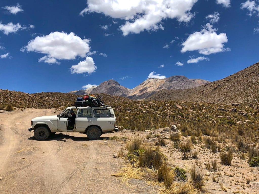 Jeep ride to the starting point of the hike to Chachani in Peru.
