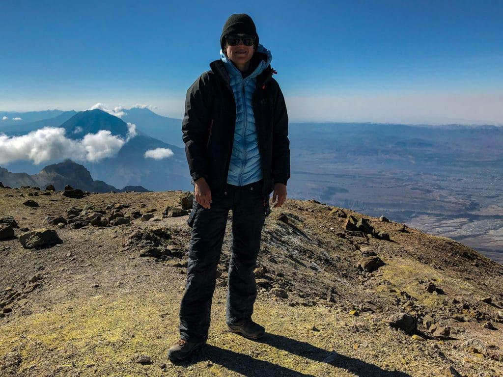 Jen at the summit of Chachani