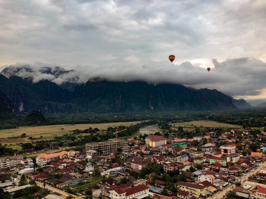 Panoramic View of Vang Vieng while Hot Air Ballooning in Laos