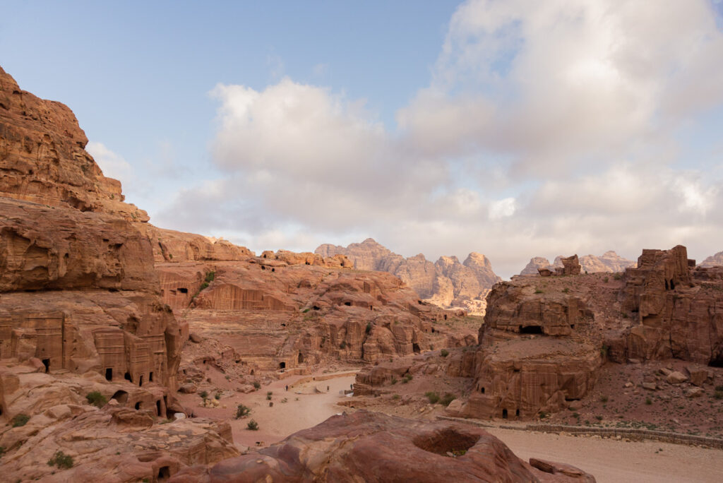 Panoramic view over the ruins of Petra