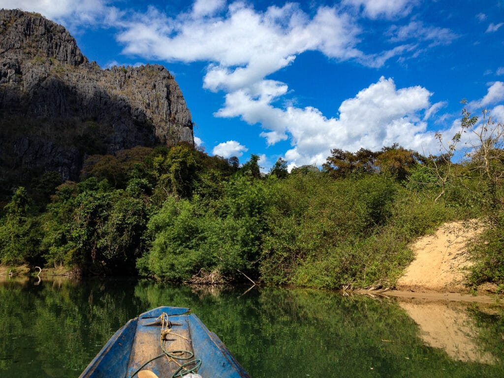 View from the Canoe while Visiting Tham Kong Lo Cave in Laos
