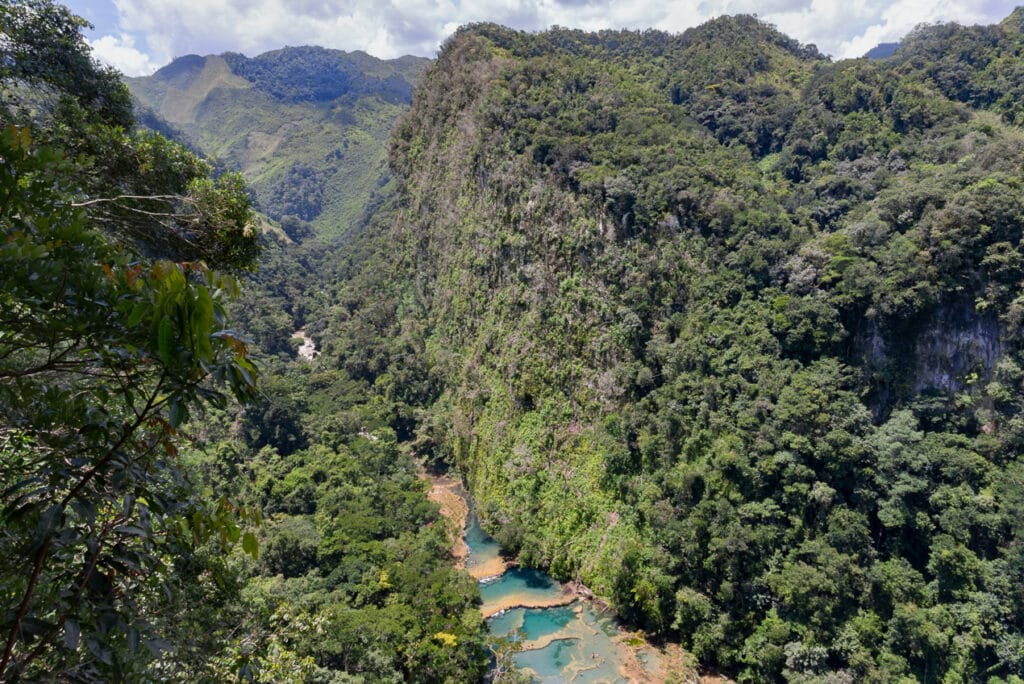 View of the valley leading to Semuc Champey in Guatemala