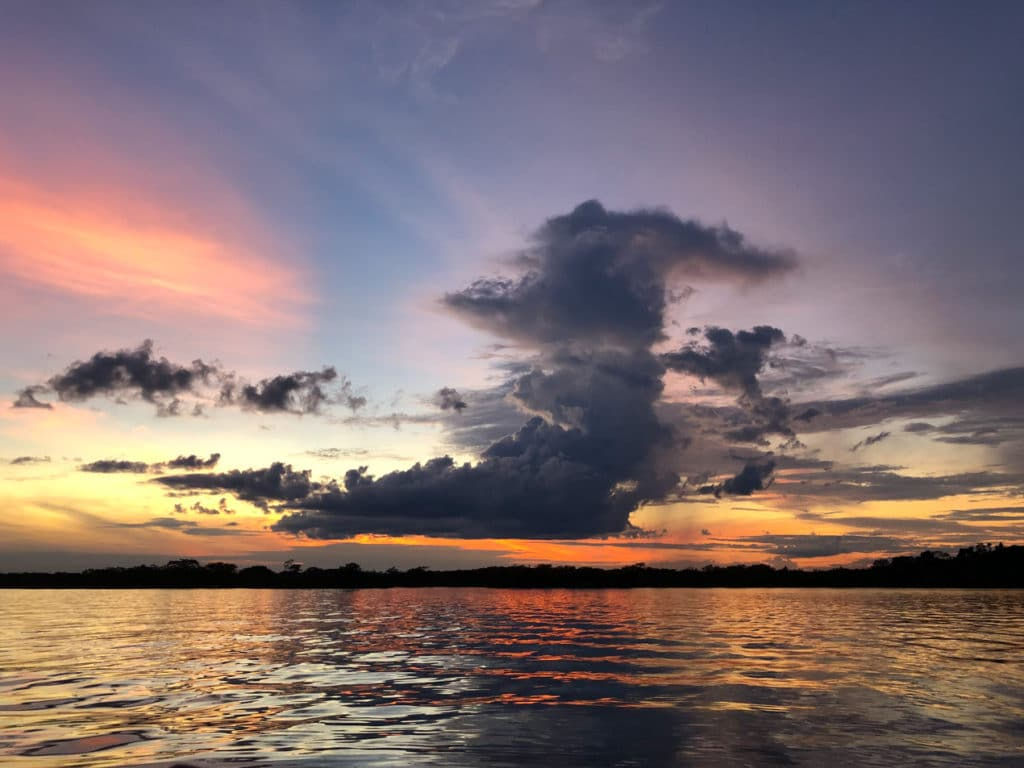 Sunset in Cuyabeno Reserve Ecuador
