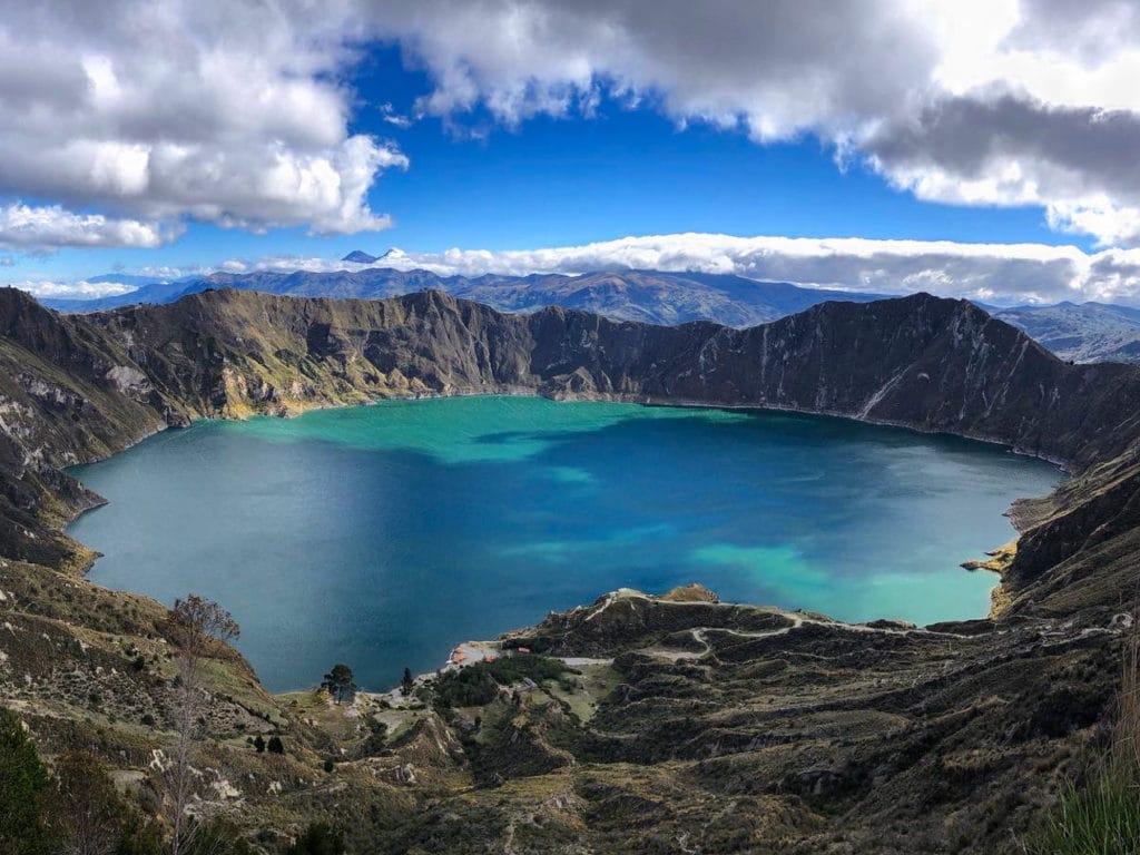 View of Quilotoa Lagoon in Quilotoa Ecuador