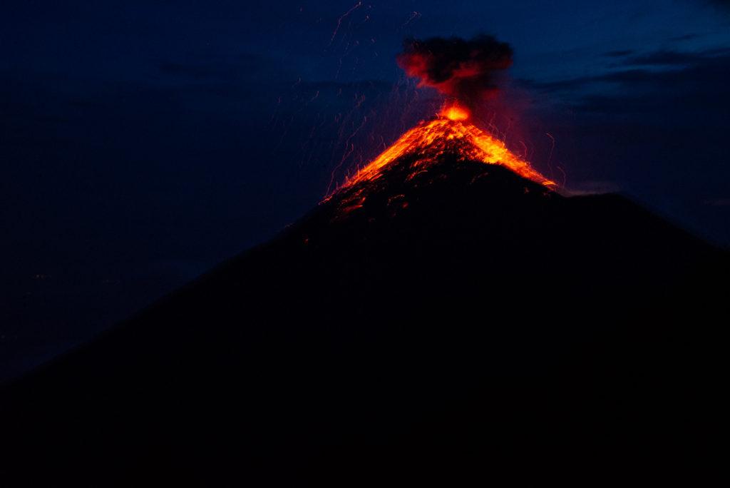 Volcano Fuego Erupting whie Hiking Acatenango