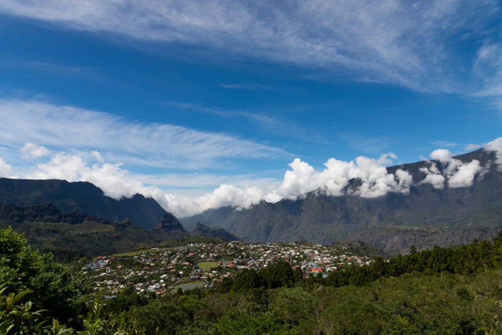 View of Cilaos while hiking Piton des Neiges in Reunion Island