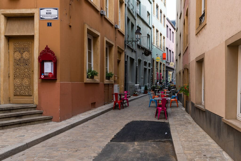 Colorful Street in the Grund District of Luxembourg City