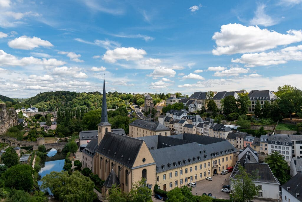 Panoramic View of Neumünster Abbey in the Grund district
