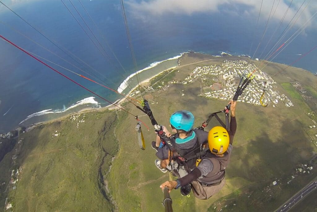 Panoramic View while Paragliding in Reunion Island