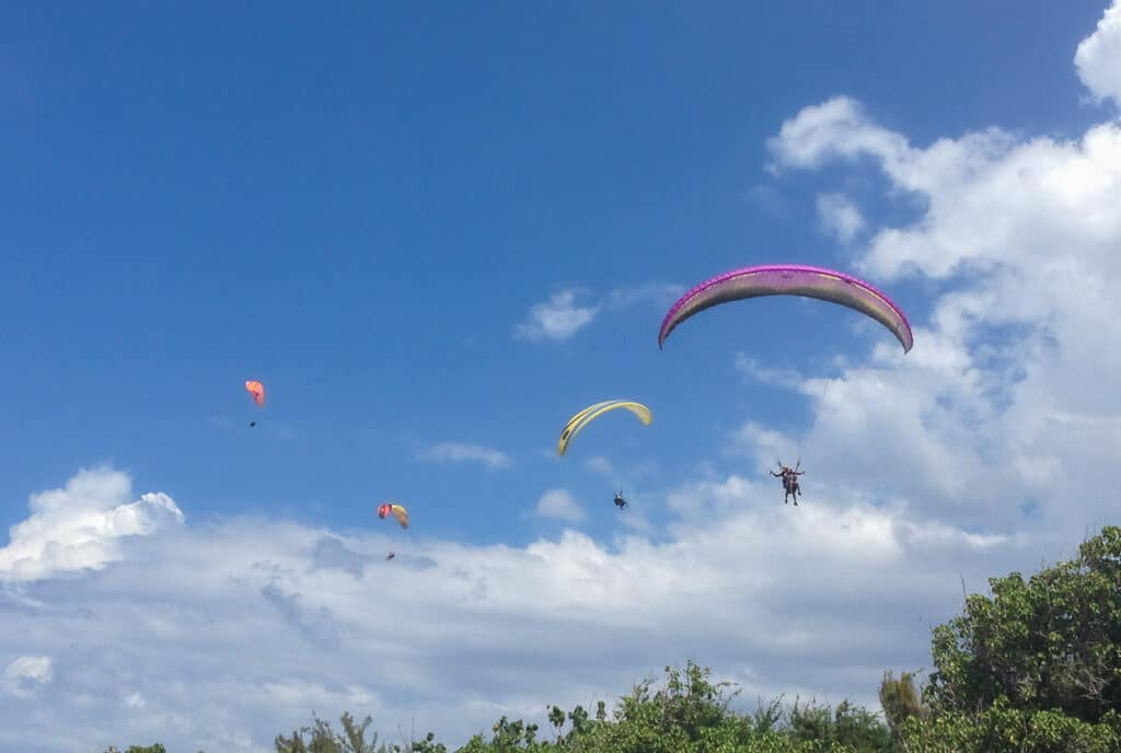 Sky Full of Paragliders in Reunion Island