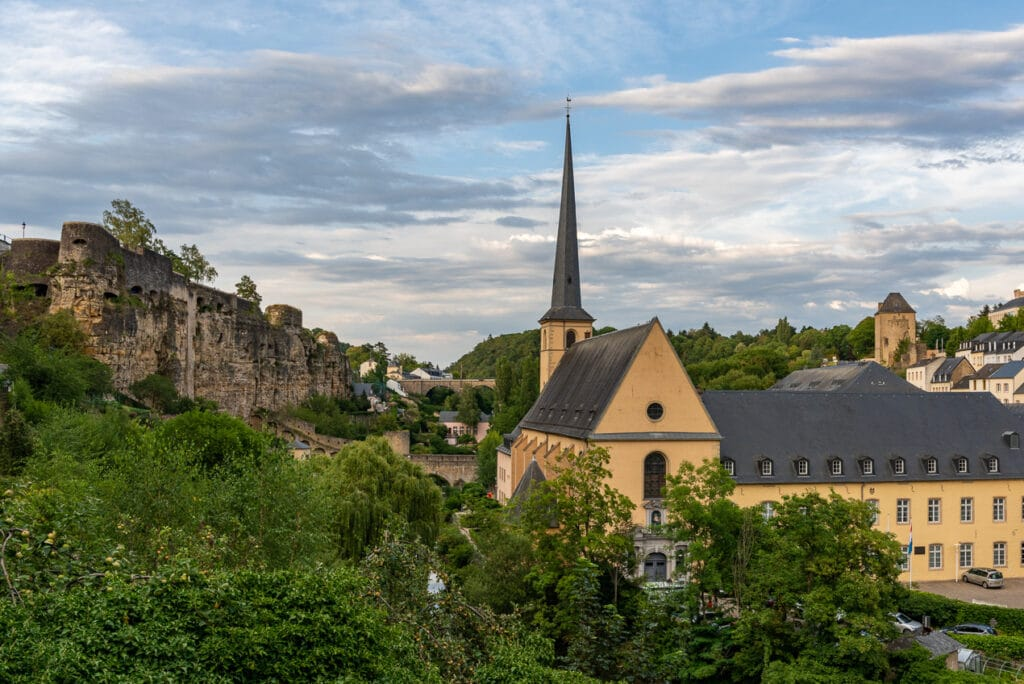 Sunset Over Neumünster Abbey in the Grund district of Luxembourg City
