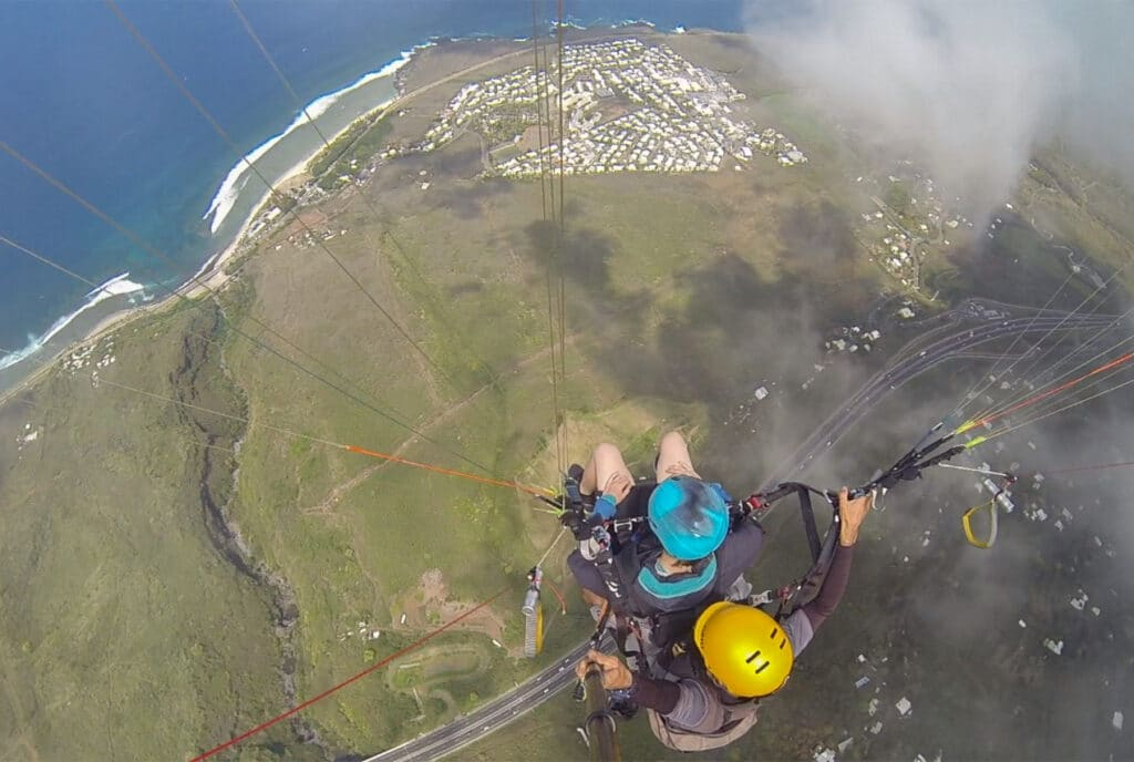 View from Above while Paragliding in Reunion Island