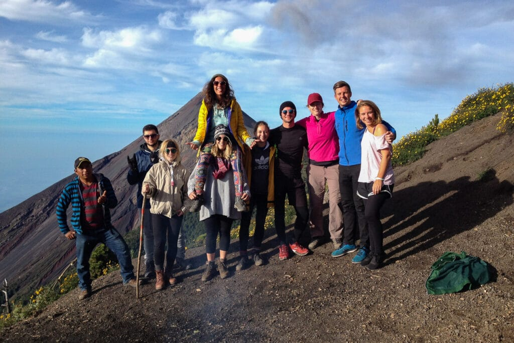 Picture of Jen and the Group in Front of Volcano Fuego while Hiking Acatenango