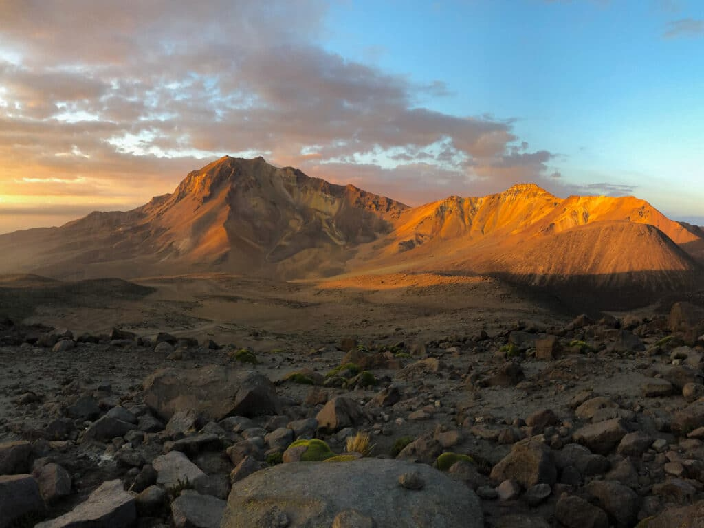 Sunset over the campsite before climbing Chachani in Peru