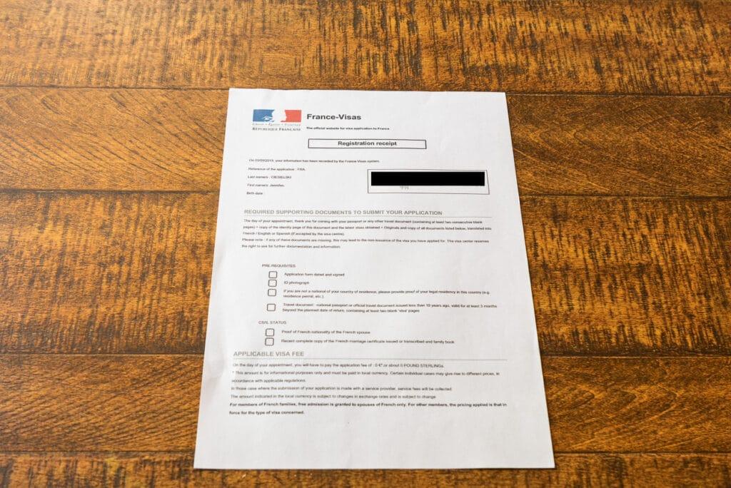 Long-Stay Visa Application Registration Receipt