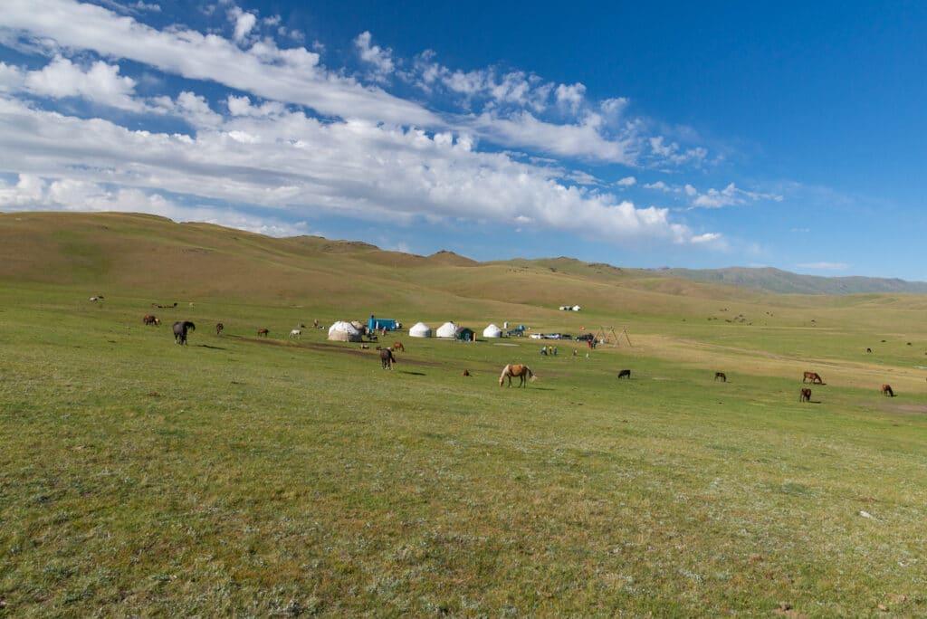 Yurt Camp at Song Kol Lake in Kyrgyzstan
