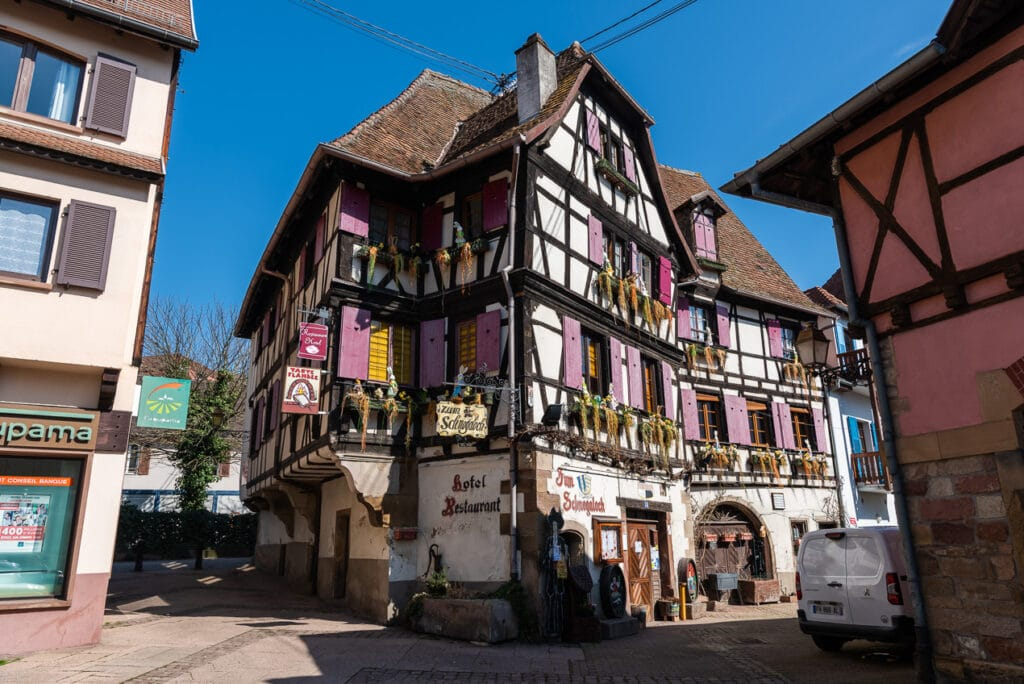 Brightly Colored Half-timbered Buildings in Obernai