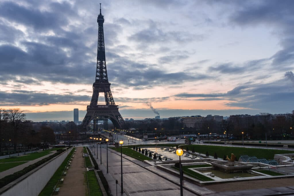 Eiffel Tower with a Slanted Horizon