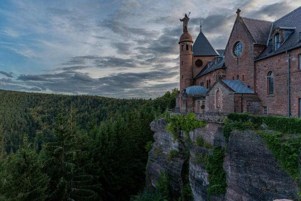 Sunset over Monastery at Mont Sainte Odile in Alsace
