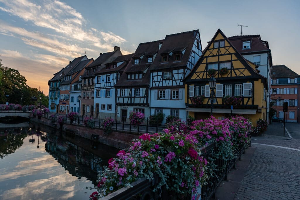 Taking a picture of the Sunrise over Little Venice in Colmar required a Tripod