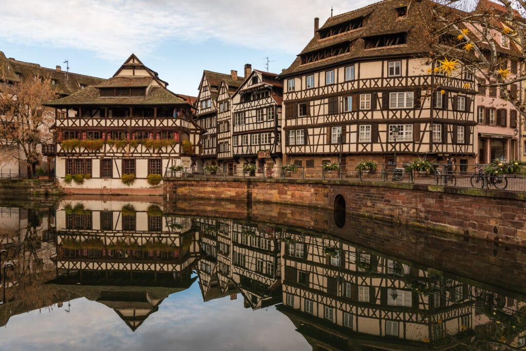 View of La Petite France during Christmas in Strasbourg
